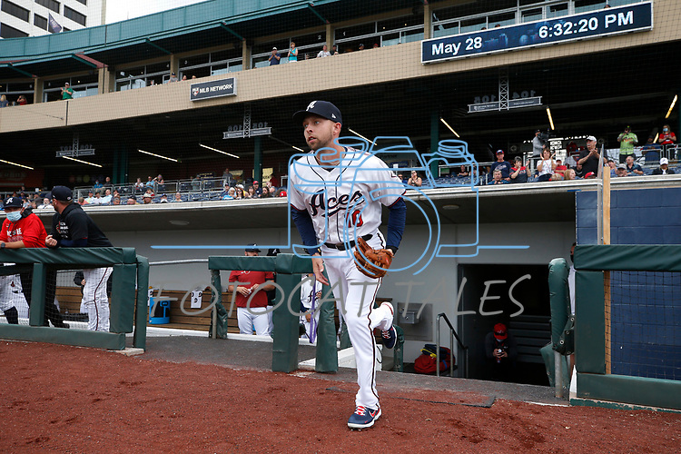 Reno Aces' Drew Ellis takes the field in a game against the Tacoma Rainiers, in Reno, Nev., on Friday, May 28, 2021. <br /> Photo by Cathleen Allison