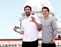 """Il regista statunitense Jon Watts (l) e l'attore britannico Tom Holland (r) posano durante un photocall per la presentazione del film """"Spider-Man: Homecoming"""" a Roma, 20 giugno 2017. <br /> US film director Jon Watts (l) and British actor Tom Holland (r) pose during a photocall for the presentation of the movie """"Spider-Man: Homecoming"""" in Rome, June 20, 2017.<br /> UPDATE IMAGES PRESS/Isabella Bonotto"""