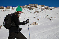 A skier enjoys mountain scenery close to l'Ecot, Bonneval sur Arc, Savoie, France, 17 February 2012.