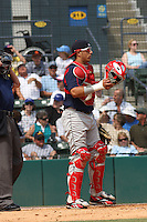 Catcher Luis Exposito of the Salem Red Sox in the field with mask off against  the Myrtle Beach Pelicans on May 3, 2009