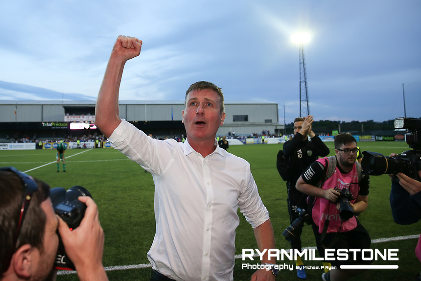 Stephen Kenny celebrates at the end of the UEFA Europa League First Qualifying Round Second Leg between Dundalk FC and Levadia Tallinn on Thursday 19th July 2018 at Oriel Park, Dundalk, Co Louth. Photo By Michael P Ryan