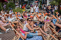 Paris, France, 28 May, 2017, Tennis, French Open, Roland Garros, Relaxing  watching the giant screen on beachchairs<br /> Photo: Henk Koster/tennisimages.com