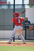 Philadelphia Phillies Abrahan Gutierrez (3) at bat during a Florida Instructional League game against the Atlanta Braves on October 5, 2018 at the Carpenter Complex in Clearwater, Florida.  (Mike Janes/Four Seam Images)