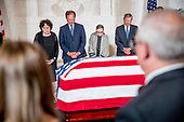 From left, Associate Justice Sonia Sotomayor, Associate Justice Samuel Alito, Associate Justice Ruth Bader Ginsburg, and Chief Justice John Roberts participates in a moment of silence during a private ceremony in the Great Hall of the Supreme Court in Washington, Monday, July 22, 2019, where the late Supreme Court Justice John Paul Stevens lies in repose. <br /> Credit: Andrew Harnik / Pool via CNP