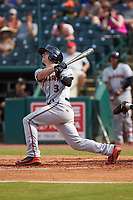 Cadyn Grenier (3) of the Delmarva Shorebirds follows through on his swing against the Greensboro Grasshoppers at First National Bank Field on August 26, 2018 in Greensboro, North Carolina. The Shorebirds defeated the Grasshoppers 6-4. (Brian Westerholt/Four Seam Images)