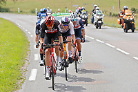 2nd July 2021; Le Creusot, France; VAN MOER Brent (BEL) of LOTTO SOUDAL, CAMPENAERTS Victor (BEL) of TEAM QHUBEKA ASSOS and STUYVEN Jasper (BEL) of TREK - SEGAFREDO during stage 7 of the 108th edition of the 2021 Tour de France cycling race, a stage of 248,1 kms between Vierzon and Le Creusot