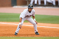 Jiovanni Mier #21 of the Greeneville Astros takes his lead off of first base versus the Danville Braves at Pioneer Park June 28, 2009 in Greeneville, Tennessee. (Photo by Brian Westerholt / Four Seam Images)