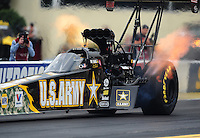 Sept. 30, 2011; Mohnton, PA, USA: NHRA top fuel dragster driver Tony Schumacher during qualifying for the Auto Plus Nationals at Maple Grove Raceway. Mandatory Credit: Mark J. Rebilas-