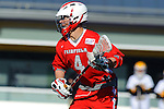 Baltimore, MD - March 3: Midfielder Colin McLinden #4 of the Fairfield Stags  during the Fairfield v UMBC mens lacrosse game at UMBC Stadium on March 3, 2012 in Baltimore, MD.