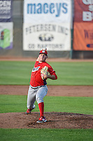 Orem Owlz starting pitcher Joe Gatto (33) delivers a pitch to the plate against the Ogden Raptors in Pioneer League action at Lindquist Field on June 18, 2015 in Ogden, Utah. This was Opening Night play of the 2015 Pioneer League season.  (Stephen Smith/Four Seam Images)