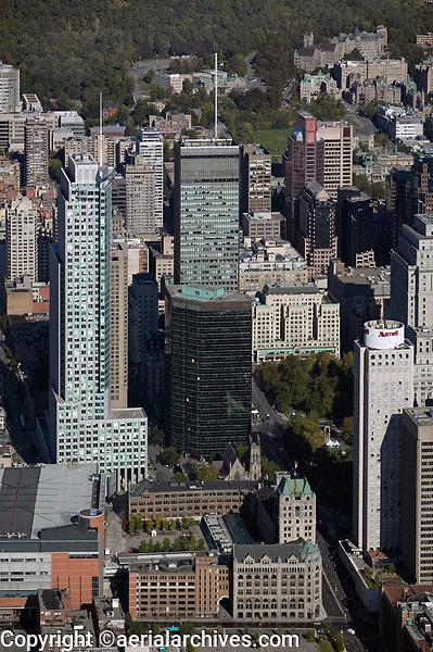 aerial photograph of Centre Bell, Marriott Château Champlain, Deloitte Tower and adjacent high rise buildings, Montreal, Quebec, Canada | photographie aérienne du Centre Bell, du Marriott Château Champlain, de la tour Deloitte et des tours adjacentes, Montréal, Québec