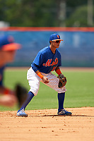 GCL Mets shortstop Cesar Berbesi (21) during a Gulf Coast League game against the GCL Marlins on August 11, 2019 at St. Lucie Sports Complex in St. Lucie, Florida.  GCL Marlins defeated the GCL Mets 3-2 in the second game of a doubleheader.  (Mike Janes/Four Seam Images)
