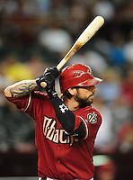 Jun. 9, 2010; Phoenix, AZ, USA; Arizona Diamondbacks second baseman Ryan Roberts against the Atlanta Braves at Chase Field. Mandatory Credit: Mark J. Rebilas-
