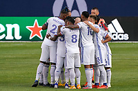 CHICAGO, UNITED STATES - AUGUST 25: FC Cincinnati starting XI huddle during a game between FC Cincinnati and Chicago Fire at Soldier Field on August 25, 2020 in Chicago, Illinois.