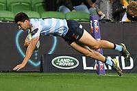 19th March 2021; Melbourne Rectangular Stadium, Melbourne, Victoria, Australia; Australian Super Rugby, Melbourne Rebels versus New South Wales Waratahs; Jack Maddocks of the Waratahs scores a try