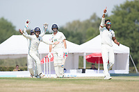 Middlesex appeal and celebrate as Thilan Walallawita dismisses James Fuller caught behind by John Simpson during Middlesex CCC vs Hampshire CCC, Bob Willis Trophy Cricket at Radlett Cricket Club on 11th August 2020