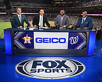 WASHINGTON DC - OCTOBER 27: Kevin Burkhardt, Alex Rodriguez, David Ortiz, and Frank Thomas at World Series Game 5: Houston Astros at Washington Nationals on Fox Sports at Nationals Park on October 27, 2019 in Washington, DC. (Photo by Frank Micelotta/Fox Sports/PictureGroup)