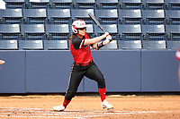 GREENSBORO, NC - MARCH 11: Kayla Scaperrotta #11 of Northern Illinois University hits the ball during a game between Northern Illinois and UNC Greensboro at UNCG Softball Stadium on March 11, 2020 in Greensboro, North Carolina.