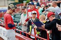New Hampshire Fisher Cats Cavan Biggio (6) signs autographs for fans before a game against the Erie SeaWolves on June 20, 2018 at UPMC Park in Erie, Pennsylvania.  New Hampshire defeated Erie 10-9.  (Mike Janes/Four Seam Images)