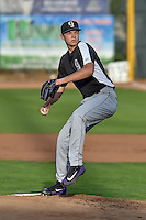 Grand Junction Rockies starting pitcher Riley Pint (34) delivers a pitch to the plate against the Ogden Raptors in Pioneer League action at Lindquist Field on August 26, 2016 in Ogden, Utah. The Raptors defeated the Rockies 6-5. (Stephen Smith/Four Seam Images)