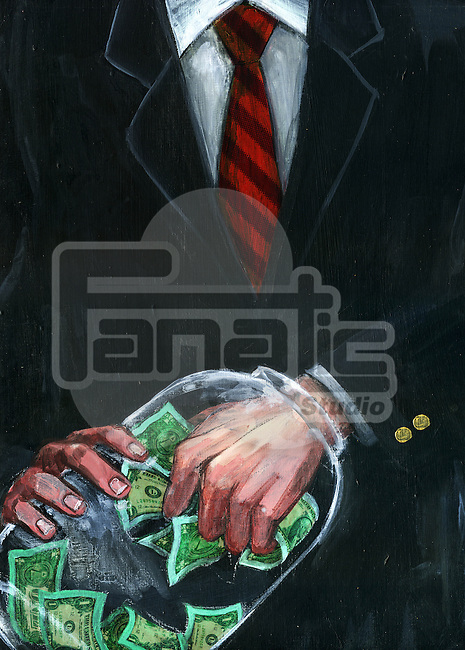 Illustrative image of businessman's hand stuck in jar while removing money representing greed