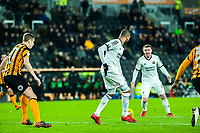 Sheffield United's forward Leon Clarke (9) lays off to Sheffield United's midfielder John Fleck (4) to shoot during the Sky Bet Championship match between Hull City and Sheff United at the KC Stadium, Kingston upon Hull, England on 23 February 2018. Photo by Stephen Buckley / PRiME Media Images.
