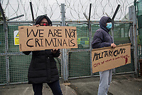 2020 11 14 Asylum seekers protest at military training camp in Penally, Wales, UK