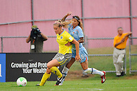 Allison Falk (3) of the Philadelphia Independence shields the ball from Natasha Kai (6) of Sky Blue FC. Sky Blue FC defeated the Philadelphia Independence 1-0 during a Women's Professional Soccer (WPS) match at Yurcak Field in Piscataway, NJ, on August 22, 2010.