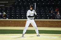 DJ Poteet (4) of the Wake Forest Demon Deacons at bat against the Louisville Cardinals at David F. Couch Ballpark on March 6, 2020 in  Winston-Salem, North Carolina. The Cardinals defeated the Demon Deacons 4-1. (Brian Westerholt/Four Seam Images)