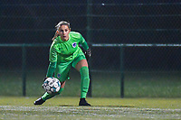 Genk's goalkeeper Joséphine Delvaux (1) pictured during a female soccer game between  Racing Genk Ladies and Oud Heverlee Leuven on the fourth matchday of the 2020 - 2021 season of Belgian Scooore Womens Super League , friday 9 th of October 2020  in Genk , Belgium . PHOTO SPORTPIX.BE | SPP | STIJN AUDOOREN
