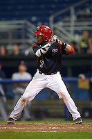 Batavia Muckdogs catcher Pablo Garcia (7) at bat during a game against the Mahoning Valley Scrappers on August 18, 2016 at Dwyer Stadium in Batavia, New York.  Batavia defeated Mahoning Valley 2-1 in twelve innings. (Mike Janes/Four Seam Images)