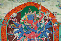 Mural of Chakrasamvara  at the Lhakhang Karporling of Litang Chode Monastery - Kham, Sichuan, China, (Tibet)