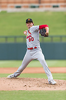 Surprise Saguaros relief pitcher Conner Greene (90), of the St. Louis Cardinals organization, delivers a pitch during an Arizona Fall League game against the Salt River Rafters at Salt River Fields at Talking Stick on October 23, 2018 in Scottsdale, Arizona. Salt River defeated Surprise 7-5 . (Zachary Lucy/Four Seam Images)
