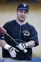 Erubiel Durazo of the Arizona Diamondbacks before a 2002 MLB season game against the Los Angeles Dodgers at Dodger Stadium, in Los Angeles, California. (Larry Goren/Four Seam Images)