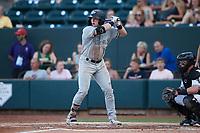 Elijah Dunham (14) of the Hudson Valley Renegades at bat against the Winston-Salem Dash at Truist Stadium on August 28, 2021 in Winston-Salem, North Carolina. (Brian Westerholt/Four Seam Images)