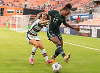 HOUSTON, TX - JUNE 13: Alicia Correia #3 of Portugal defends Francisca Ordega #17 of Nigeria during a game between Nigeria and Portugal at BBVA Stadium on June 13, 2021 in Houston, Texas.