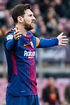 Lionel Andres Messi of FC Barcelona gestures during the La Liga 2017-18 match between FC Barcelona and Getafe FC at Camp Nou on 11 February 2018 in Barcelona, Spain. Photo by Vicens Gimenez / Power Sport Images