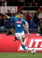 Calcio, Serie A: Roma, stadio Olimpico, 14 ottobre 2017.<br /> Napoli's captain Marek Hamsik in action during the Italian Serie A football match between Roma and Napoli at Rome's Olympic stadium, October14, 2017.<br /> UPDATE IMAGES PRESS/Isabella Bonotto