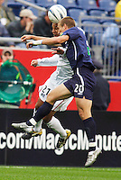 The  MetroStars' Craig Ziadie goes up for a header with the New England Revolution's Taylor Twellman. The New England Revolution tied the NY/NJ MetroStars one all at Gillette Stadium, Foxborough, MA, on May 22, 2004.