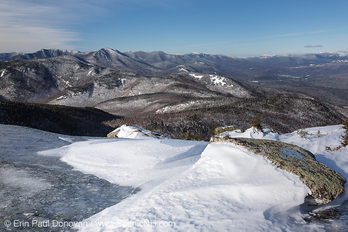 View of mountain range from Middle Sister Trail in the White Mountains, New Hampshire USA. Much of the area in the foreground was logged during the Swift River Railroad era, which was a logging railroad in operation from 1906 - 1916.