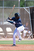 AZL Padres 1 shortstop Ruddy Giron (4) at bat during an Arizona League game against the AZL Royals at Peoria Sports Complex on July 4, 2018 in Peoria, Arizona. The AZL Royals defeated the AZL Padres 1 5-4. (Zachary Lucy/Four Seam Images)