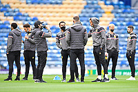 Milton Keynes Dons players inspect the pitch during Portsmouth vs MK Dons, Sky Bet EFL League 1 Football at Fratton Park on 10th October 2020