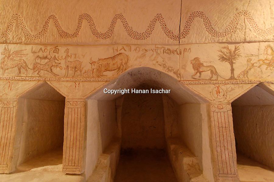 Israel, Shephelah region. Wall painting at the Sidonian cave in Bet Guvrin