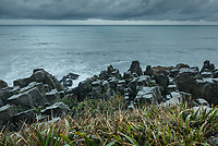 Moody morning over limestone formations, Pancake Rocks, in Punakaiki, Paparoa National Park, Buller Region, West Coast, South Island, New Zealand, NZ