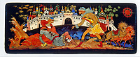 A Russian 'Palekh' lacquered box,1970. depicting a scene from medieval Russian history. Russian lacquer art developed from the art of icon painting which came to an end with the collapse of Imperial Russia.