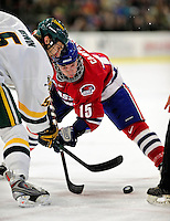 6 November 2009: University of Massachusetts Lowell River Hawks' forward Scott Campbell, a Junior from Navan, Ontario, takes a first period faceoff against forward Brayden Irwin, a Senior from Toronto, Ontario, at Gutterson Fieldhouse in Burlington, Vermont. The Hockey East rivals battled to a 3-3 tie. Mandatory Credit: Ed Wolfstein Photo
