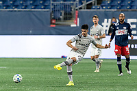 FOXBOROUGH, MA - NOVEMBER 20: Emanuel Maciel #25 of Montreal Impact passes the ball during the Audi 2020 MLS Cup Playoffs, Eastern Conference Play-In Round game between Montreal Impact and New England Revolution at Gillette Stadium on November 20, 2020 in Foxborough, Massachusetts.