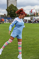 London, UK on Sunday 31st August, 2014. Amy Childs heads the ball during the Soccer Six charity celebrity football tournament at Mile End Stadium, London.