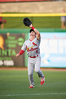 Palm Beach Cardinals right fielder Thomas Spitz (8) settles under a fly ball during a game against the Clearwater Threshers on April 14, 2017 at Spectrum Field in Clearwater, Florida.  Clearwater defeated Palm Beach 6-2.  (Mike Janes/Four Seam Images)