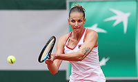 29th September 2020, Roland Garros, Paris, France; French Open tennis, Roland Garros 2020; Karolina Pliskova of Czech Republic returns the ball during womens singles first round match against Mayar Sherif of Egypt at French Open